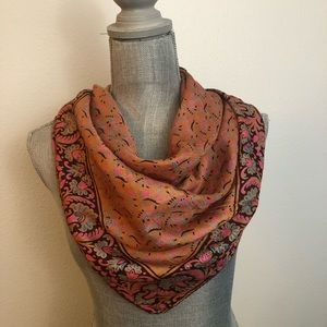 Vintage 100% Silk Paisley Pink Orange Scarf